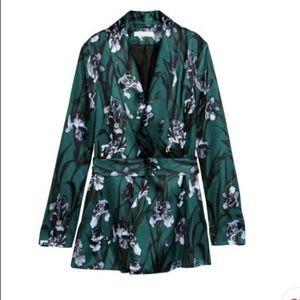 H&M Satin Floral Blazer w/Belt